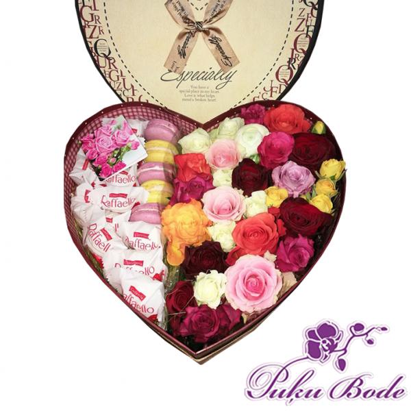 Ziedu kārbiņa Maigums Cena 57.90 piezīmēs rožu daudzums 35gb miksētas ,rafaello,macaron cepumi. Ziedu kārbiņās ir iespēja arī pēc Jūsu vēlmēm ko mainīt ,piem.,ziedu krāsu ,daudzumu u.t.t.,iepriekš sazin